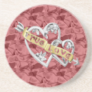 Red True Love Joined Hearts Coaster