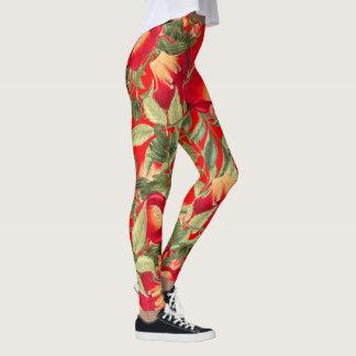 Red Trumpet Vine Flowers All Over Print Leggings