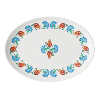 Red Tulip Blue Carnation Ivory Platter Porcelain Serving Platter