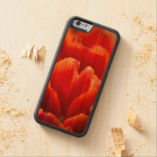 Red tulip carved cherry iPhone 6 bumper case