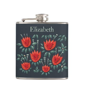 Red Tulip Dark Floral Pattern Custom Name Hip Flask