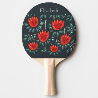 Red Tulip Dark Floral Pattern Custom Name Ping Pong Paddle