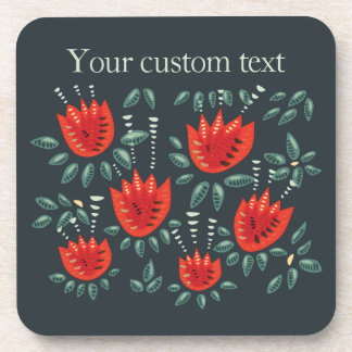 Red Tulip Dark Floral Pattern Custom Text Drink Coaster