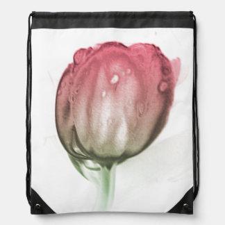 Red tulip drawstring bag