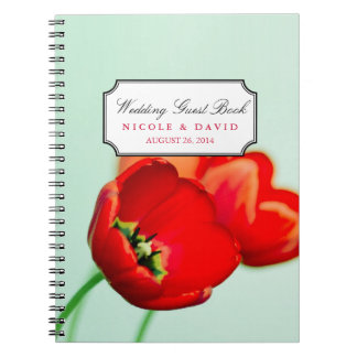 Red tulip floral mint bokeh wedding guestbook notebooks