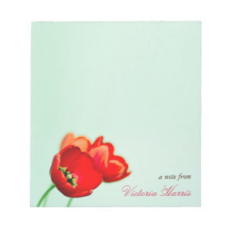 Red tulip floral mint green bokeh style personal notepad