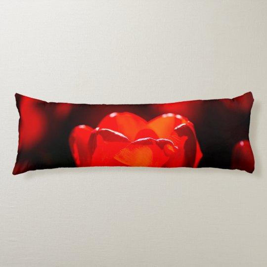 Red Tulip Flower - Fire Body Pillow