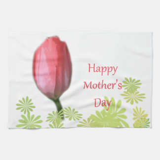 red tulip flower, happy mother's day hand towel