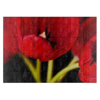 Red Tulip Flowers Black Background Floral Cutting Board