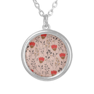 Red Tulip Hand Drawn Doodle Silver Plated Necklace