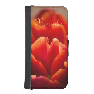 Red tulip iPhone SE/5/5s wallet case