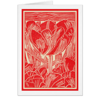 Red Tulip Linocut Greeting Card