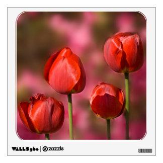 Red Tulip Quartet Wall Sticker