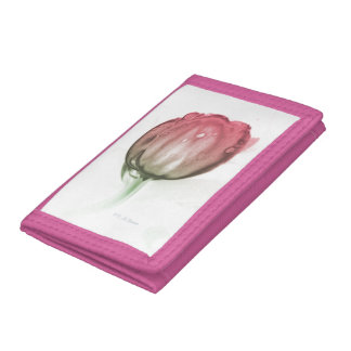 Red tulip tri-fold wallets