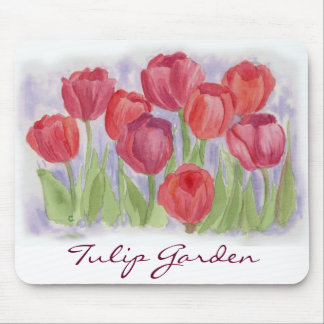Red Tulip Watercolor Flower Garden Mouse Pad
