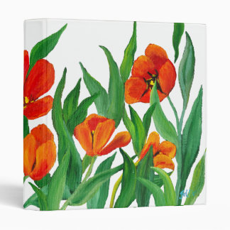 Red Tulips 3 Ring Binders