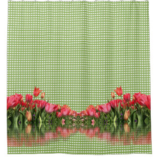 Red Tulips and Green Gingham