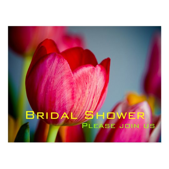 Red Tulips • Bridal Shower Invitation Postcard