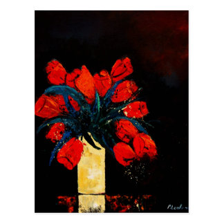 red tulips bunch postcard