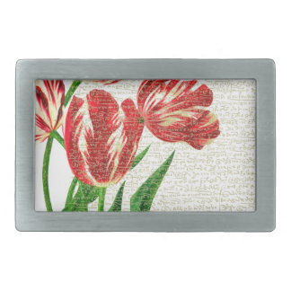 Red Tulips Calligraphy Belt Buckle