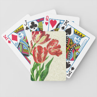 Red Tulips Calligraphy Bicycle Playing Cards