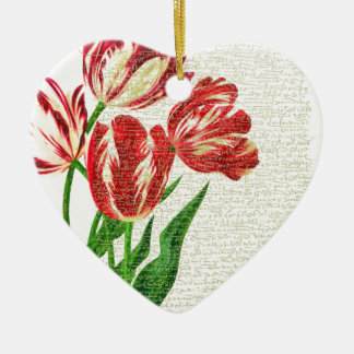 Red Tulips Calligraphy Ceramic Heart Ornament