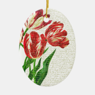 Red Tulips Calligraphy Ceramic Oval Ornament