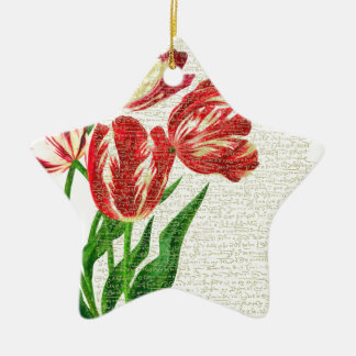 Red Tulips Calligraphy Ceramic Star Ornament
