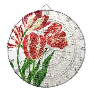 Red Tulips Calligraphy Dartboard