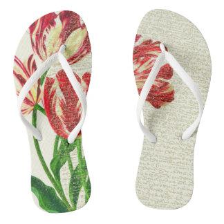 Red Tulips Calligraphy Flip Flops