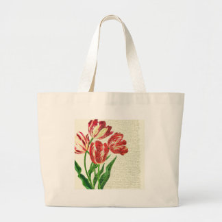 Red Tulips Calligraphy Large Tote Bag