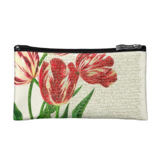 Red Tulips Calligraphy Makeup Bag