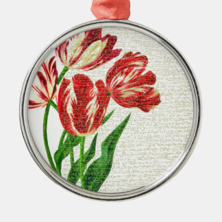 Red Tulips Calligraphy Metal Ornament