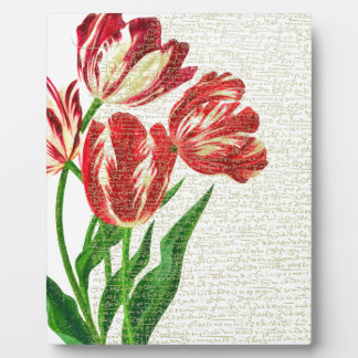 Red Tulips Calligraphy Plaque