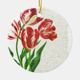 Red Tulips Calligraphy Round Ceramic Ornament