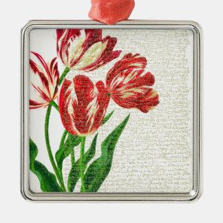 Red Tulips Calligraphy Silver-Colored Square Ornament