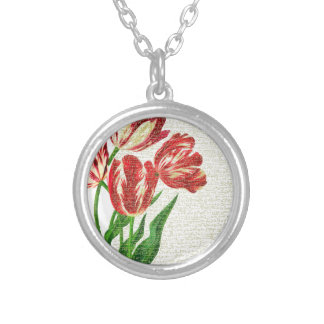 Red Tulips Calligraphy Silver Plated Necklace