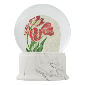 Red Tulips Calligraphy Snow Globe