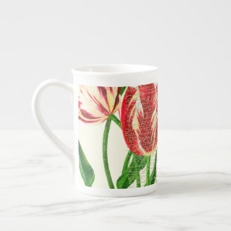 Red Tulips Calligraphy Tea Cup