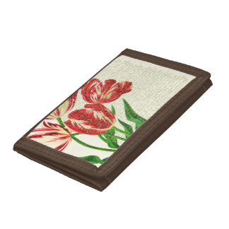 Red Tulips Calligraphy Tri-fold Wallet
