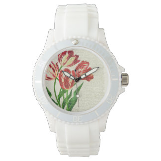 Red Tulips Calligraphy Watch