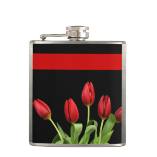 Red Tulips Choose Accent Color Hip Flask