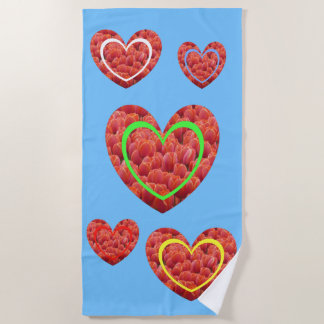 Red Tulips Colored Hearts Beach Towel