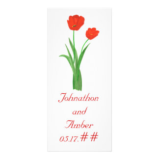 Red Tulips, custom menu cards for weddings Personalized Rack Card