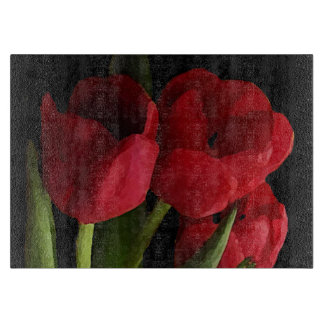 Red Tulips Cutting Board