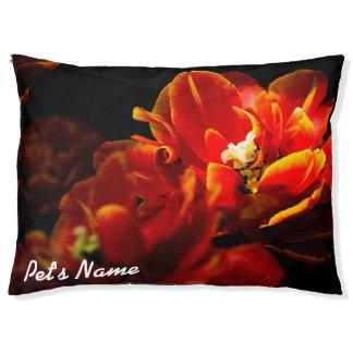 Red tulips dark background pet bed