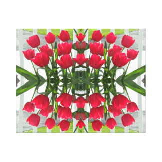 Red Tulips Digital Design Wrapped Canvas