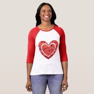 Red Tulips Field Heart Raglan T-Shirt