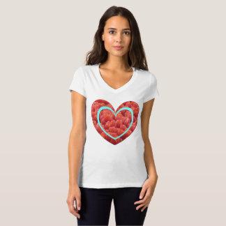 Red Tulips Field Heart V-Neck T-Shirt