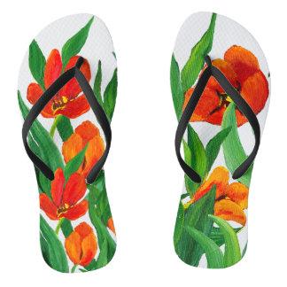 Red Tulips Flip Flops
